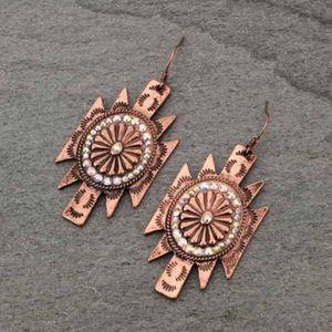 Aztec Concho Fish Hook Earrings